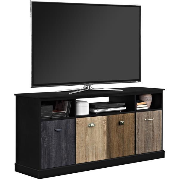 """Meuble de télévision avec façades multicolores, 60"""", noir"""