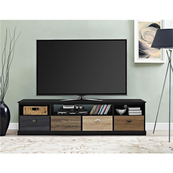 """Meuble de télévision avec façades multicolores, 72"""", noir"""