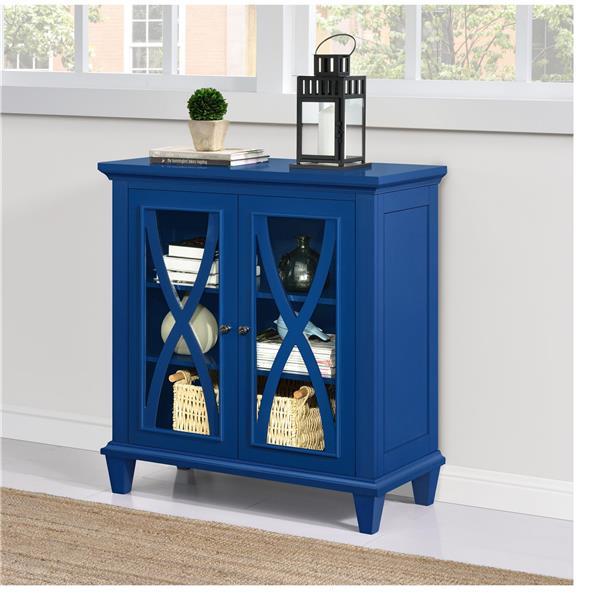 Armoire à double porte en verre Ellington, bleu