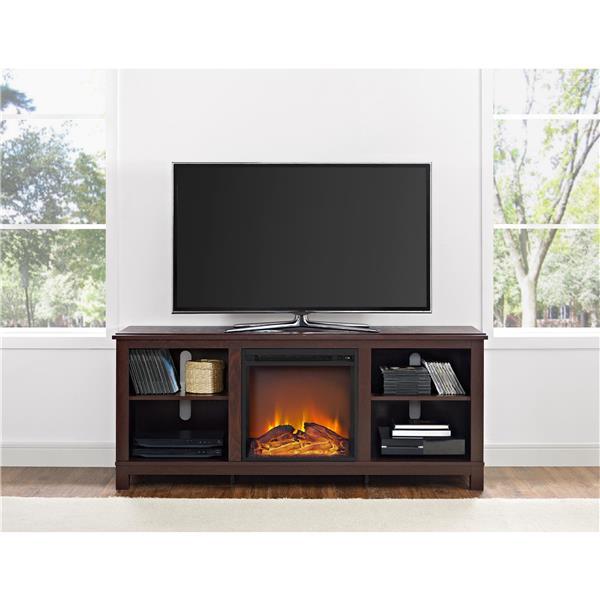 Meuble télé Edgewood avec foyer électrique intégré, cerise