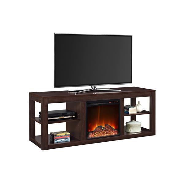 Meuble télé Parsons avec foyer électrique intégré, espresso