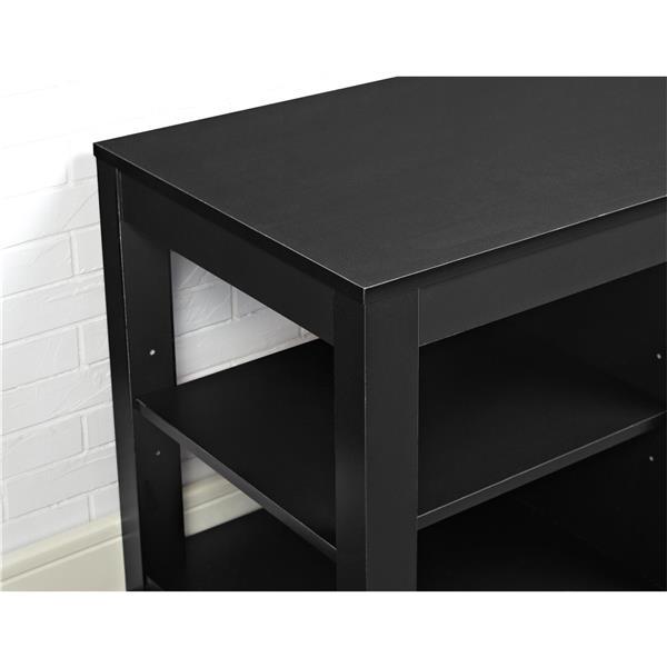 Meuble télé Parsons avec foyer électrique intégré, noir
