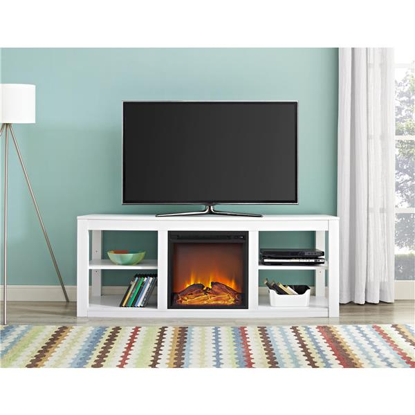 Ameriwood Home Parsons Tv Stand Tvs Up To 65 Electric Fireplace White 1816296com Rona