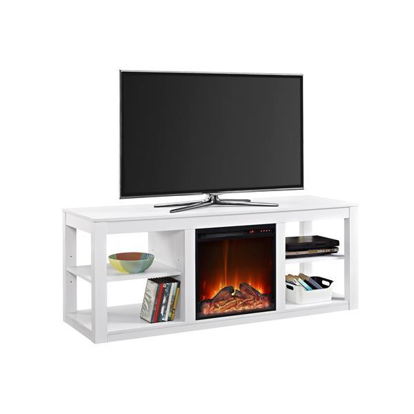 Meuble télé Parsons avec foyer électrique intégré, blanc