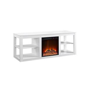 "Ameriwood Home Parsons TV Stand - TVs up to 65"" - Electric Fireplace -White"
