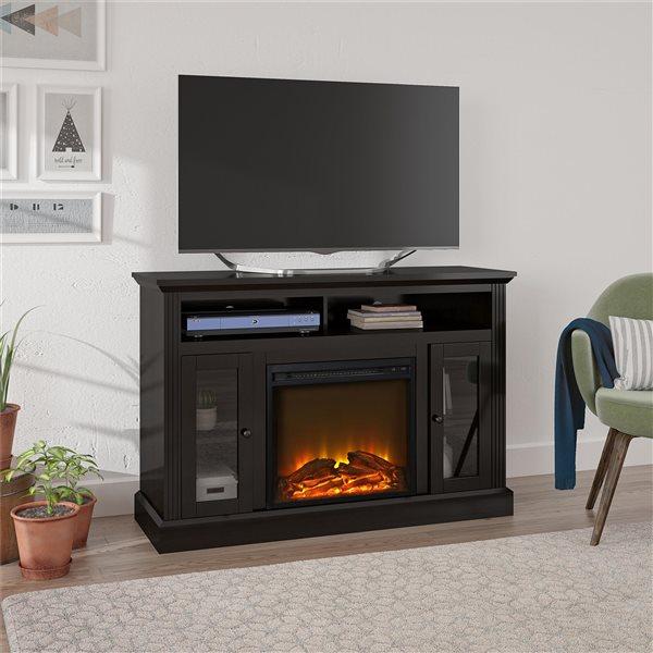 Meuble télé Chicago avec foyer électrique intégré, espresso