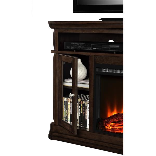 Meuble télé Brooklyn avec foyer électrique intégré, espresso
