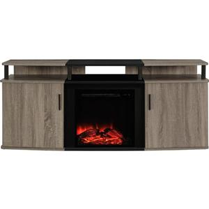 Ameriwood Home Carson Tv Cabinet with Electric Fireplace for TVs up to 70""
