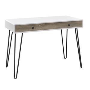 Bureau de travail rétro avec tiroir Owen, blanc et gris