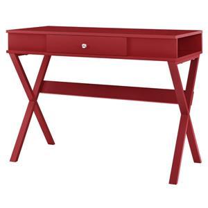Bureau de travail Paxton avec tiroir, rouge