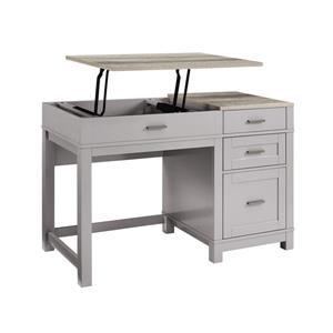 Bureau de travail avec rangement Carver, gris