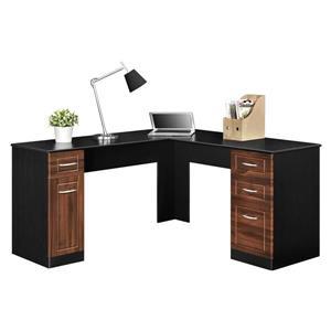 Bureau de travail en forme de L Avalon, noir.