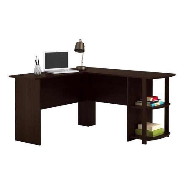 Ameriwood Home Dakota L-Shaped Desk with Bookshelves - Espresso