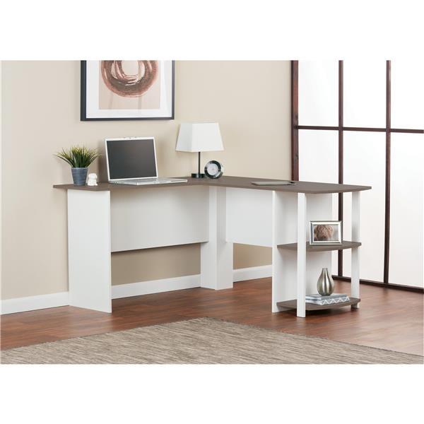 Ameriwood Home Dakota L-Shaped Desk with Bookshelves - White