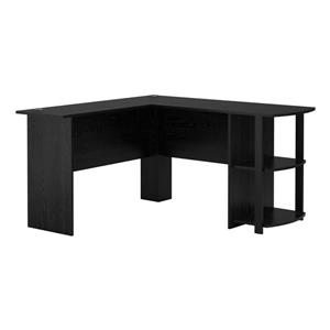 Ameriwood Home Dakota L-Shaped Desk with Bookshelves - Black Oak