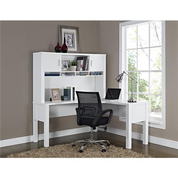 Ameriwood Home Princeton L-Shaped Desk - White