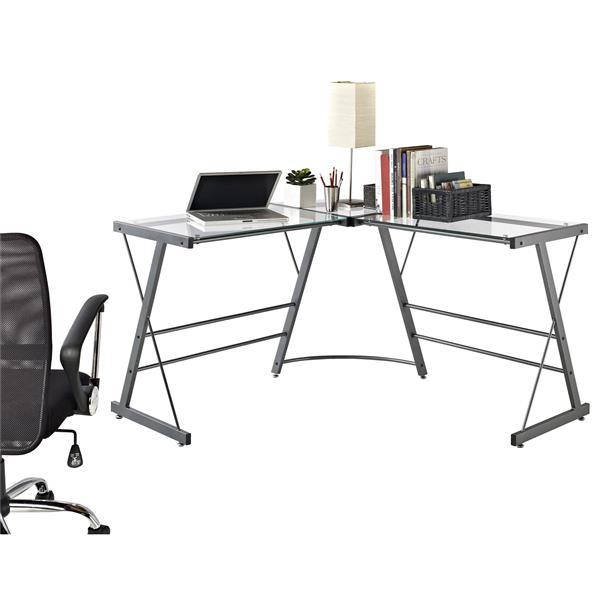 Ameriwood Home Odin Glass L-Shaped Computer Desk - Gray
