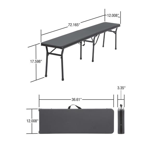 """Cosco Portable Folding Bench - 73"""" - Plastic - Red"""