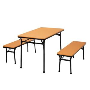 Ensemble 3 pièces de table et 2 bancs Cosco, orange