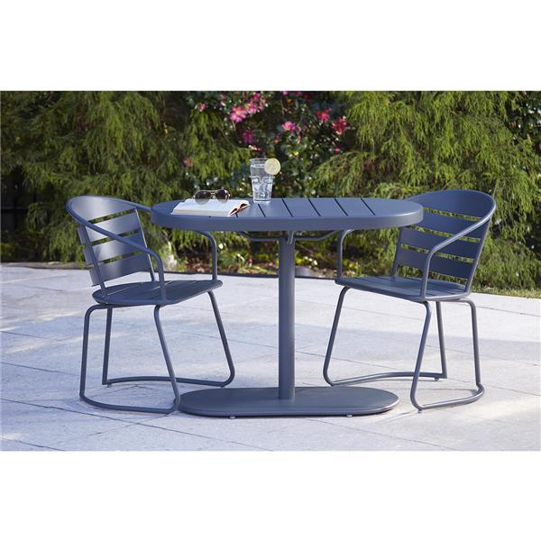Cosco 3-Piece Bistro Set - Table and 2 Chairs - Steel Gray