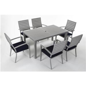 Cosco 7-Piece Dining Set - Table and 6 Chairs - Gray