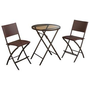 Cosco 3-Piece Set Folding Table and 2 Chairs - Steel Brown