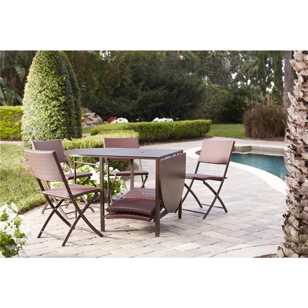 Cosco 7-Piece Set Folding Table and 6 Chairs - Steel Brown