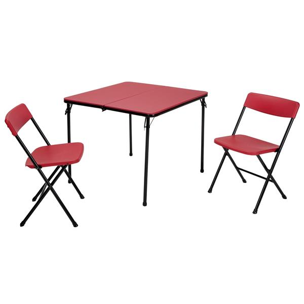 Cosco 3 Piece Set Folding Table And 2 Chairs Red 37334rbk1e Rona