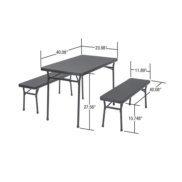 Cosco 3-Piece Set Folding Table and 2 Benches - Red