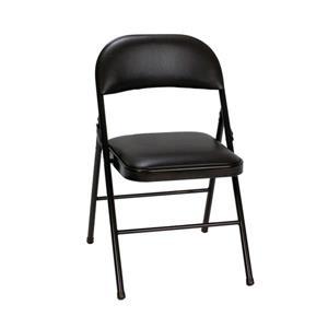 Ensemble de 4 chaises pliantes en vinyle, noir