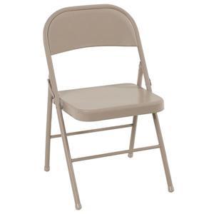 Ensemble de 4 chaises pliantes en acier, beige