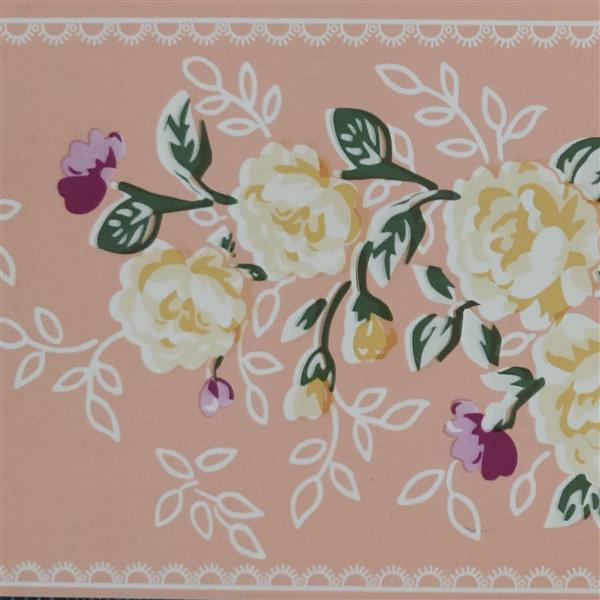 Dundee Deco Wallpaper Border -Stylized Yellow Pink Flowers Light Russet