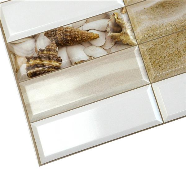 Dundee Deco PVC 3D Wall Panel - White Pearl Shells - 3.1' x 1.6'