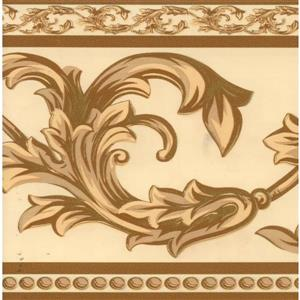 Dundee Deco Wallpaper Border - Coffee Cream Grey Green Vines