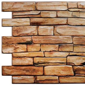 Dundee Deco PVC 3D Wall Panel - Brown Red Faux Slate - 3.2' x 1.6'