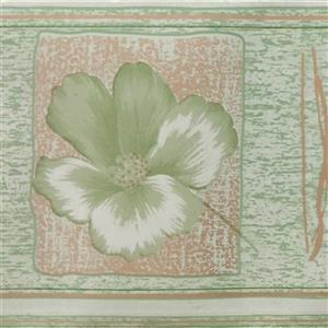 Dundee Deco Wallpaper Border - Light Green Flowers/Light Brown Squares