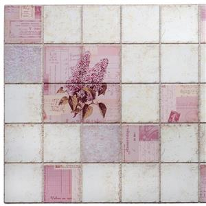 PVC 3D Wall Panel - Pink Lilacs in Squares