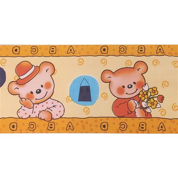 Dundee Deco Wallpaper Border - Orange Teddy Bears Yellow Kids