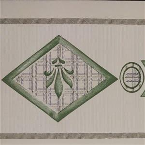 Dundee Deco Wallpaper Border - Green Light Brown Shapes Abstract
