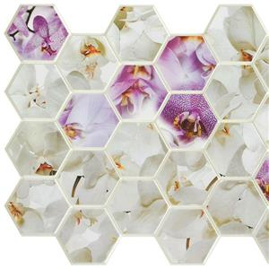 3D Wall Panel - Purple and White Orchid Mosaic - 3.2' x 1.6'