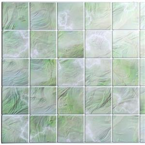 PVC 3D Wall Panel - All Shades of Green Pearl Squares
