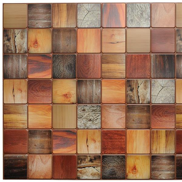 Dundee Deco PVC 3D Wall Panel - Multicolor Faux Timber - 3.1' x 1.6'