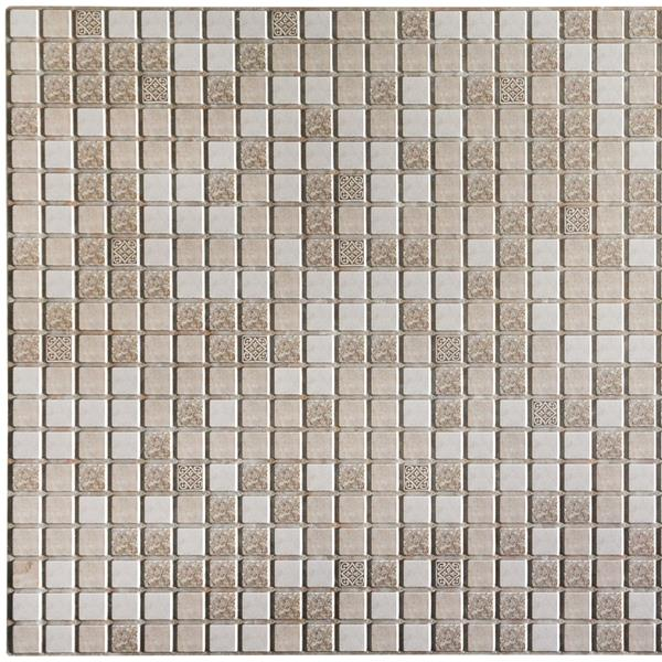 Dundee Deco 3D Wall Panel - Brown/Beige Distressed Squares Mosaic