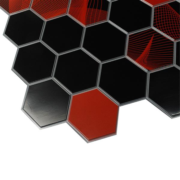 Dundee Deco PVC 3D Wall Panel Black and Red Mosaic - 3.2' x 1.6'