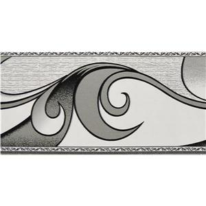 Dundee Deco Wallpaper Border - Abstract Grey Scrolls