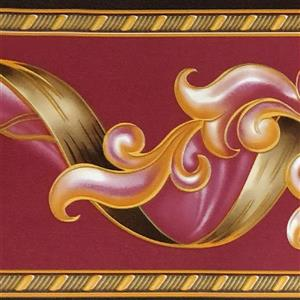 Dundee Deco Wallpaper Border - Abstract Damask Scroll Magenta Burgundy