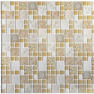 PVC 3D Wall Panel - Mustard Yellow Squares Medallions