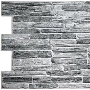PVC 3D Wall Panel - Dark Grey Faux Slate - 3.2' x 1.6'