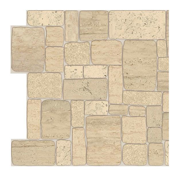 Dundee Deco 3D Wall Panel - Light Beige Faux Limestone - 3.2' x 1.6'