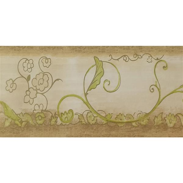 Dundee Deco Wallpaper Border -Abstract Green Flowers Vines Damask Beige
